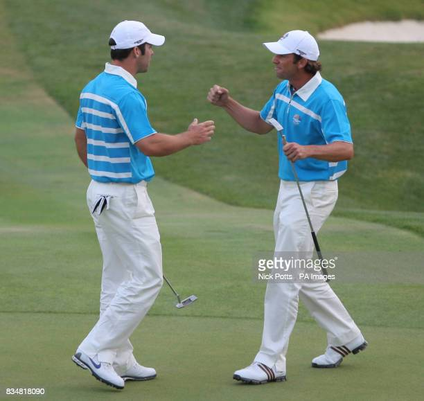 Europe's Sergio Garcia celebrates with Paul Casey during The Fourballs on Day Two at Valhalla Golf Club Louisville USA