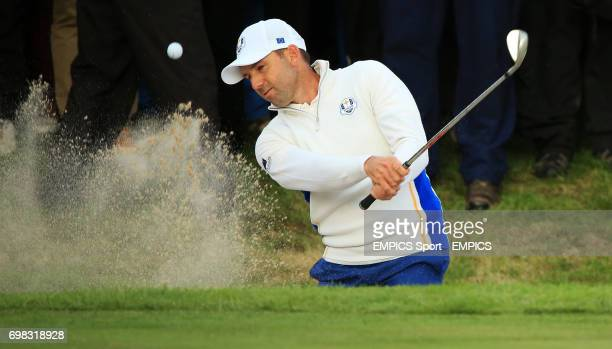 Europe's Sergio Garcia during the foursomes