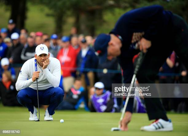 Europe's Sergio Garcia lines up a putt during the foursomes