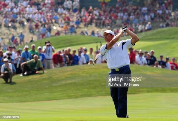 Europe's Sergio Garcia on the 1st fairway during Singles on Day Three at Valhalla Golf Club Louisville USA