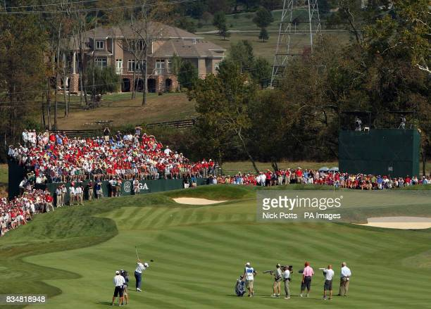 Europe's Sergio Garcia plays his 2nd shot into the 1st green during Singles on Day Three at Valhalla Golf Club Louisville USA