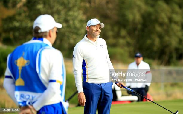 Europe's Sergio Garcia reacts during the foursomes