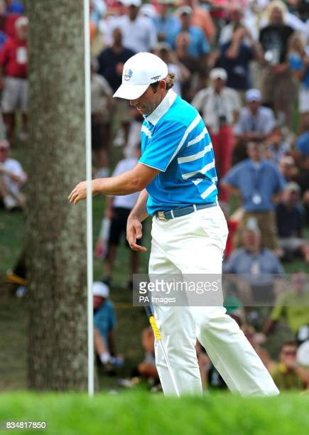 Europe's Sergio Garcia throws his club in frustation during the Fourballs on Day Two at Valhalla Golf Club Louisville USA