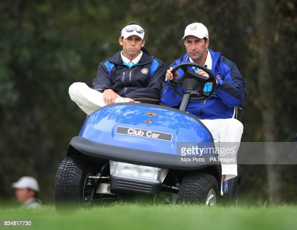 Europe's Sergio Garcia was rested by captain Nick Faldo and watched the game with Jose Maria Olazaba during The Foursomes on Day Two at Valhalla Golf...