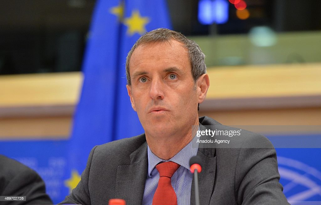 Europol director <a gi-track='captionPersonalityLinkClicked' href=/galleries/search?phrase=Rob+Wainwright&family=editorial&specificpeople=2724424 ng-click='$event.stopPropagation()'>Rob Wainwright</a> gives a press conference on April 14, 2015 at European Parliament in Brussels.