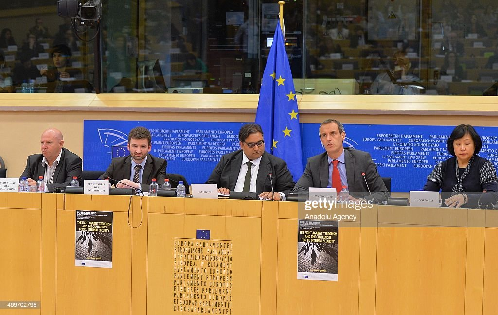 Europol director <a gi-track='captionPersonalityLinkClicked' href=/galleries/search?phrase=Rob+Wainwright&family=editorial&specificpeople=2724424 ng-click='$event.stopPropagation()'>Rob Wainwright</a> (R2) gives a press conference on April 14, 2015 at European Parliament in Brussels.