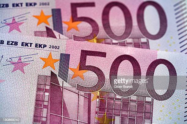 500 Euros banknote note, close up