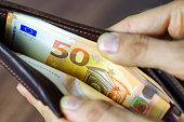 50 euros banknotes in wallet.