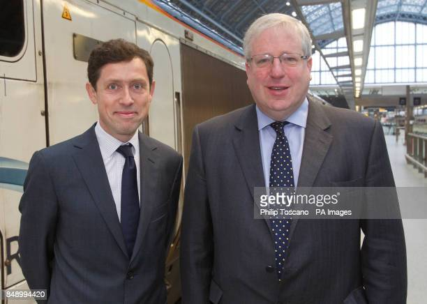 Eurostar CEO Nicolas Petrovic and Transport Secretary Patrick McLoughlin at St Pancras train station in London for Eurostar's 18th birthday...