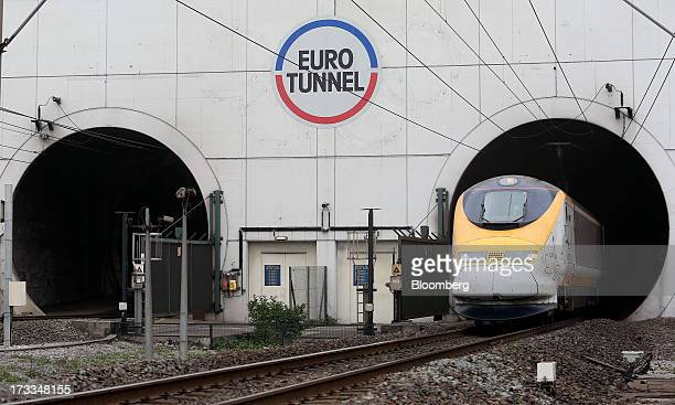 A Eurostar Group Ltd passenger train exits the Channel Tunnel operated by Groupe Eurotunnel SA in Calais France on Thursday July 11 2013 Eurotunnel...