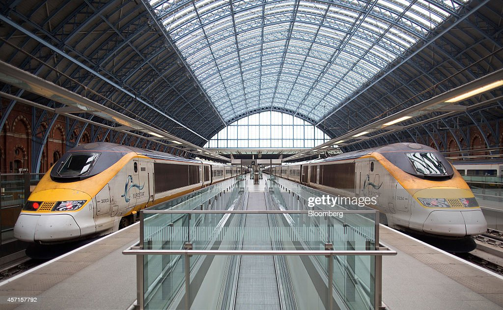 Eurostar passenger trains operated by Eurostar International Ltd stand at platforms ahead of departure from St Pancras rail station in London UK on...
