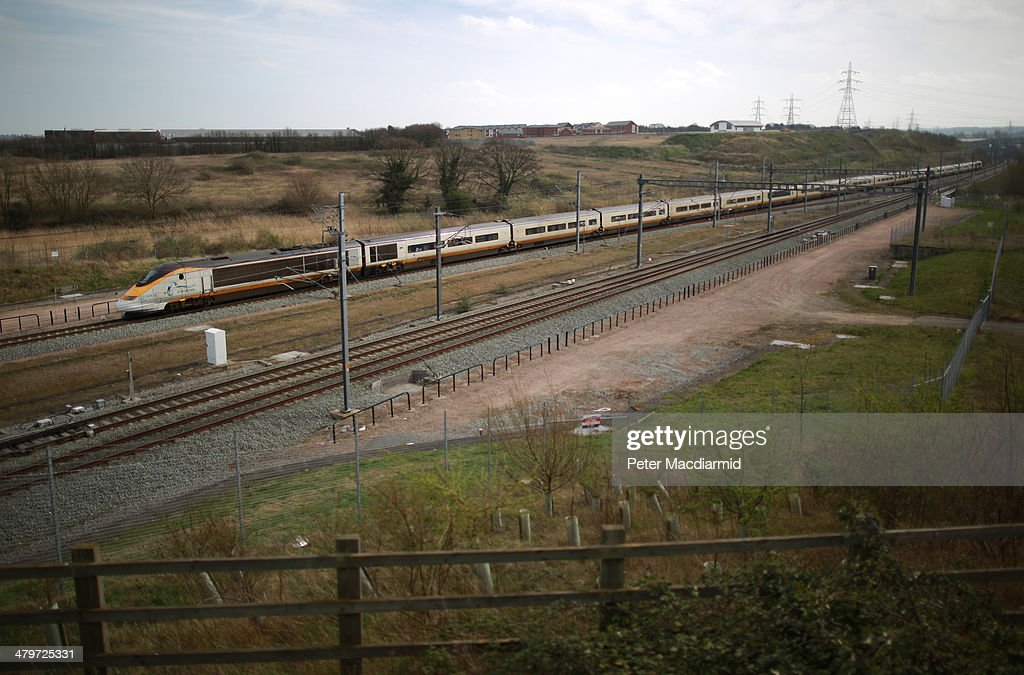 Eurostar train leaves Ebbsfleet International railway station on March 20 2014 in Ebbsfleet England Up to 15000 homes could be built in what the...
