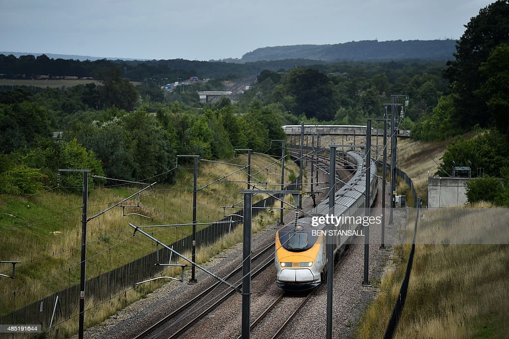 A Eurostar train travels through the countryside near Maidstone in Kent south east England on August 25 2015 AFP PHOTO / BEN STANSALL
