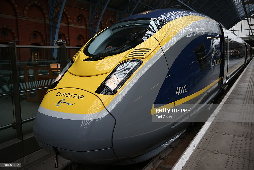 Eurostar's new e320 train is pictured at St Pancras Station on November 13 2014 in London England Launched today the trains can reach speeds of up to...