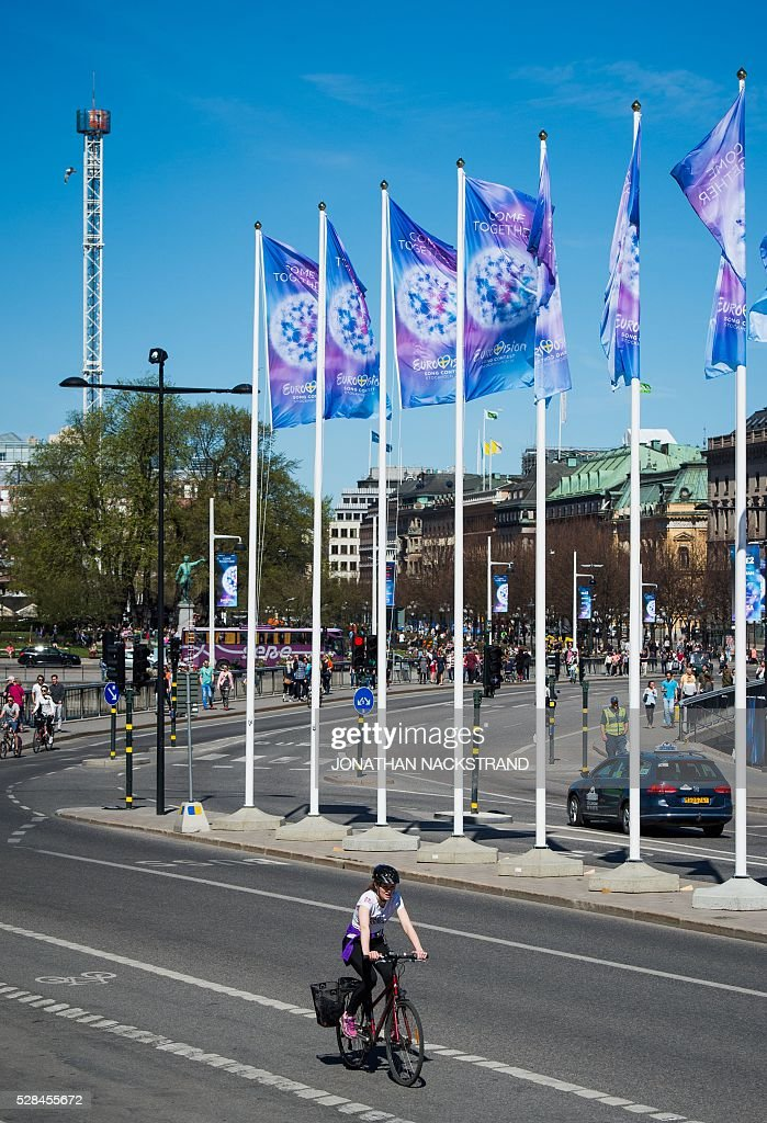 Eurovision Song Contest flags pictured in Stockholm, Sweden on May 5, 2016. The contest will consist of two semi-finals on 10 and 12 May and the final on 14 May 2016 at the Ericsson Globe in Stockholm. / AFP / JONATHAN
