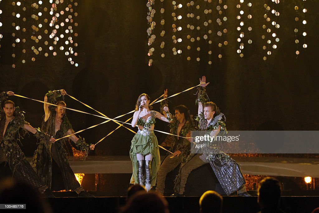 Eurovision Song Contest Kristina Pelakova from Slovakia perform the song Horehronie at the dress rehearsels, semi finale1 in Telenor Arena, Baerum on May 24, 2010. AFP Photo: Cornelius Poppe / Scanpix