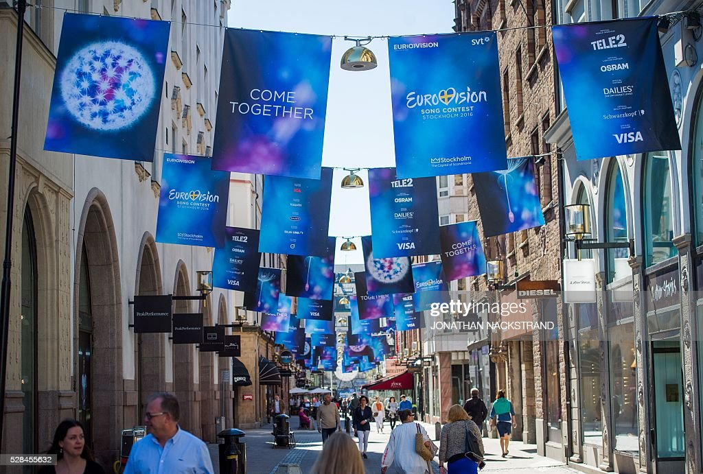 Eurovision Song Contest logos are hanged in Stockholm, Sweden on May 5, 2016. xThe contest will consist of two semi-finals on 10 and 12 May and the final on 14 May 2016 at the Ericsson Globe in Stockholm. / AFP / JONATHAN