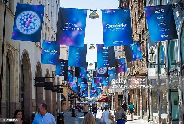 Eurovision Song Contest logos are hanged in Stockholm Sweden on May 5 2016 xThe contest will consist of two semifinals on 10 and 12 May and the final...