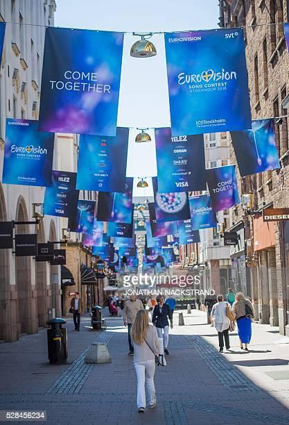 Eurovision Song Contest logos are hanged in Stockholm Sweden on May 5 2016 The contest will consist of two semifinals on 10 and 12 May and the final...