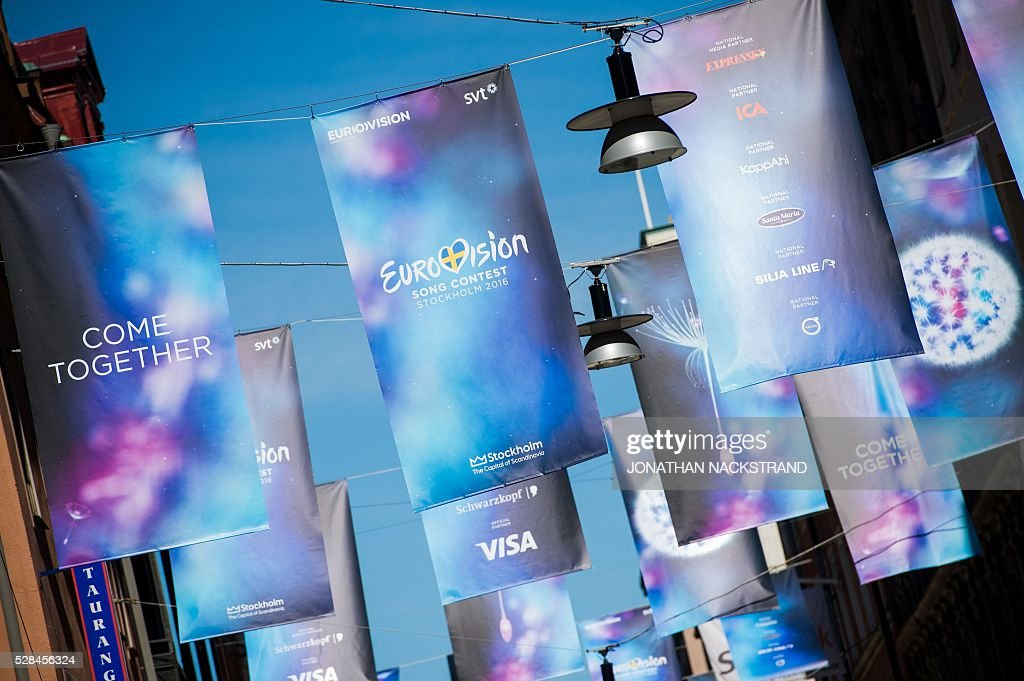 Eurovision Song Contest logos are hanged in Stockholm, Sweden on May 5, 2016. The contest will consist of two semi-finals on 10 and 12 May and the final on 14 May 2016 at the Ericsson Globe in Stockholm. / AFP / JONATHAN