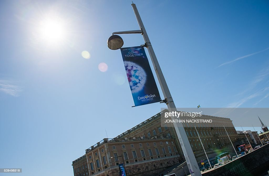 Eurovision Song Contest logos are hanged near the Royal Palace in Stockholm, Sweden on May 5, 2016. The contest will consist of two semi-finals on 10 and 12 May and the final on 14 May 2016 at the Ericsson Globe in Stockholm. / AFP / JONATHAN