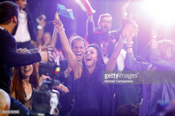 Eurovision Song Contest winner 2016 Jamala representing Ukraine is seen at the Ericsson Globe on May 14 2016 in Stockholm Sweden