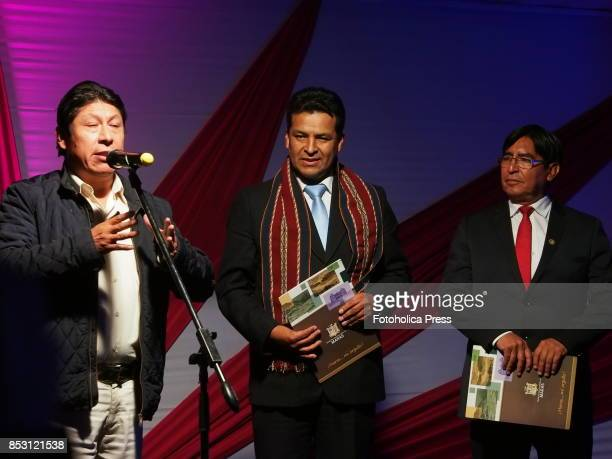 Eusebio Adriel Quispe Rodrigez Mayor of Maras Edwin Licona Licona regional governor of Cusco Rosendo Baca Palomino DIRCETUR director speeching at the...