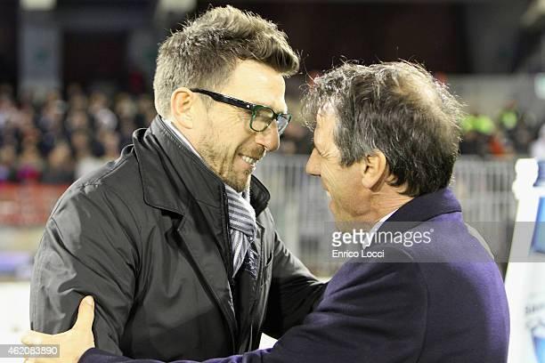 Eusebio di Francesco coach of Sassuolo and Gianfranco Zola coach of Cagliari during the Serie A match between Cagliari Calcio and US Sassuolo Calcio...