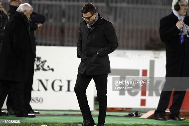 Eusebio di Francesco coach of Sassuolo look on during the Serie A match between Cagliari Calcio and US Sassuolo Calcio at Stadio Sant'Elia on January...