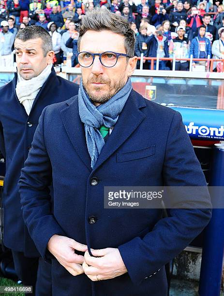 Eusebio Di Francesco coach of US Sassuolo Coach Gianluca Gasperini issues instructions during the Serie A match between Genoa CFC and US Sassuolo...