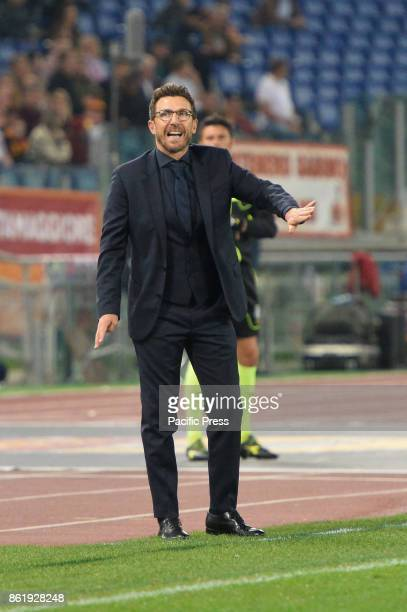 Eusebio Di Francesco during the Italian Serie A football match between AS Roma and SSC Napoli at the Olympic Stadium in Rome on october 14 2017