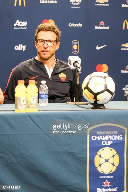 Eusebio Di Francesco head coach of AS Roma at the press conference after the International Champions Cup match between Juventus and AS Roma on July...