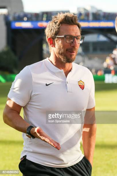 Eusebio Di Francesco head coach of AS Roma during the International Champions Cup match between Juventus and AS Roma on July 30 2017 at Gillette...
