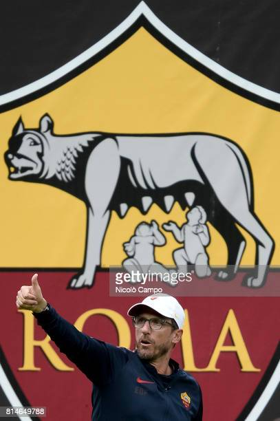 PINETA PINZOLO TRENTO ITALY Eusebio Di Francesco head coach of AS Roma gestures during the preseason friendly football match between AS Roma and FC...