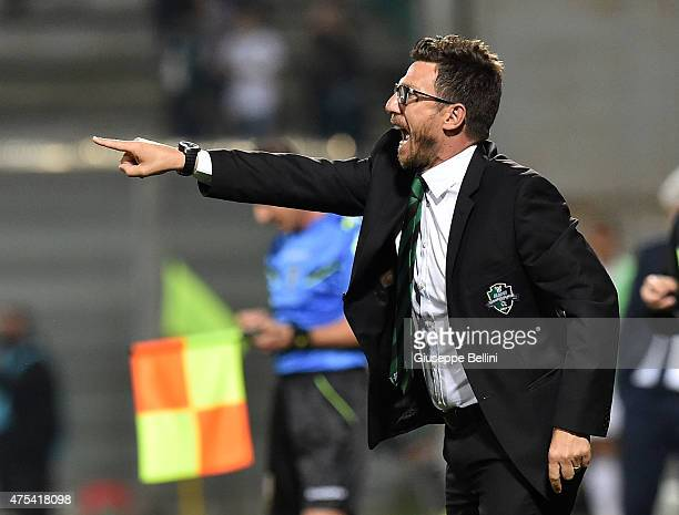 Eusebio Di Francesco head coach of Sassuolo during the Serie A match between US Sassuolo Calcio and Genoa CFC at Mapei Stadium on May 31 2015 in...