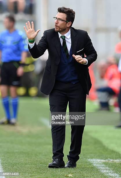 Eusebio Di Francesco head coach of Sassuolo during the Serie A match between US Sassuolo Calcio and Genoa CFC at Mapei Stadium on May 11 2014 in...