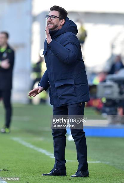 Eusebio Di Francesco head coach of US Sassuolo during the Serie A match between US Sassuolo and AC Milan at Mapei Stadium Citta' del Tricolore on...