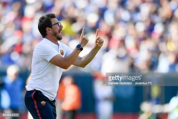 Eusebio Di Francesco in action during the International Champions Cup 2017 match between AS Roma and Juventus at Gillette Stadium on July 30 2017 in...
