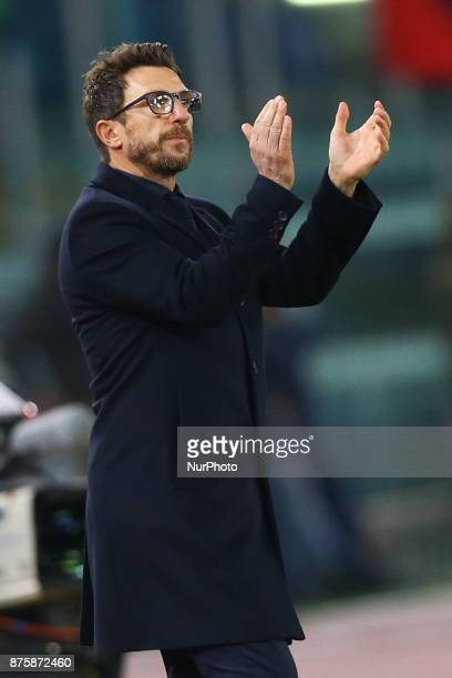 Eusebio Di Francesco manager of Roma during the Italian Serie A football match AS Roma vs Lazio on November 18 2017 at the Olympic stadium in Rome