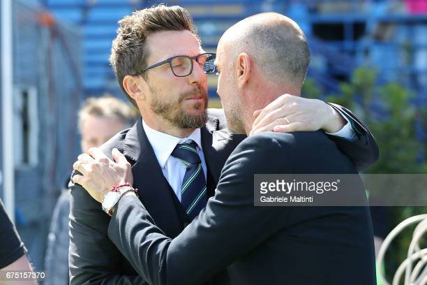 Eusebio Di Francesco manager of US Sassuolo and Giovanni Martusciello manager of Empoli FC during the Serie A match between Empoli FC and US Sassuolo...