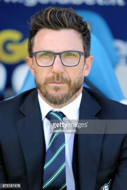 Eusebio Di Francesco manager of US Sassuolo during the Serie A match between Empoli FC and US Sassuolo at Stadio Carlo Castellani on April 30 2017 in...
