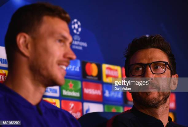 Eusebio Di Francesco Manager speaks to the media during the AS Roma press conference prior to the UEFA Champions League group C match against Chelsea...