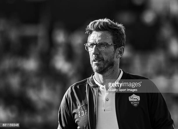 Eusebio Di Francesco the manager of AS Roma looks on prior to the preseason friendly match between Celta de Vigo and AS Roma at Balaidos Stadium on...