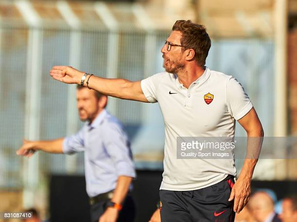 Eusebio Di Francesco the manager of AS Roma reacts during the preseason friendly match between Celta de Vigo and AS Roma at Balaidos Stadium on...