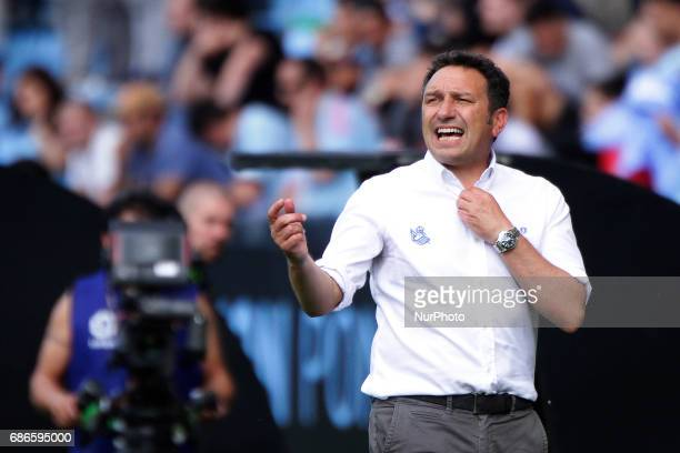 Eusebio Sacristan manager of Real Sociedad de Futbol during the La Liga Santander match between Celta de Vigo and Real Sociedad de Futbol at Balaidos...