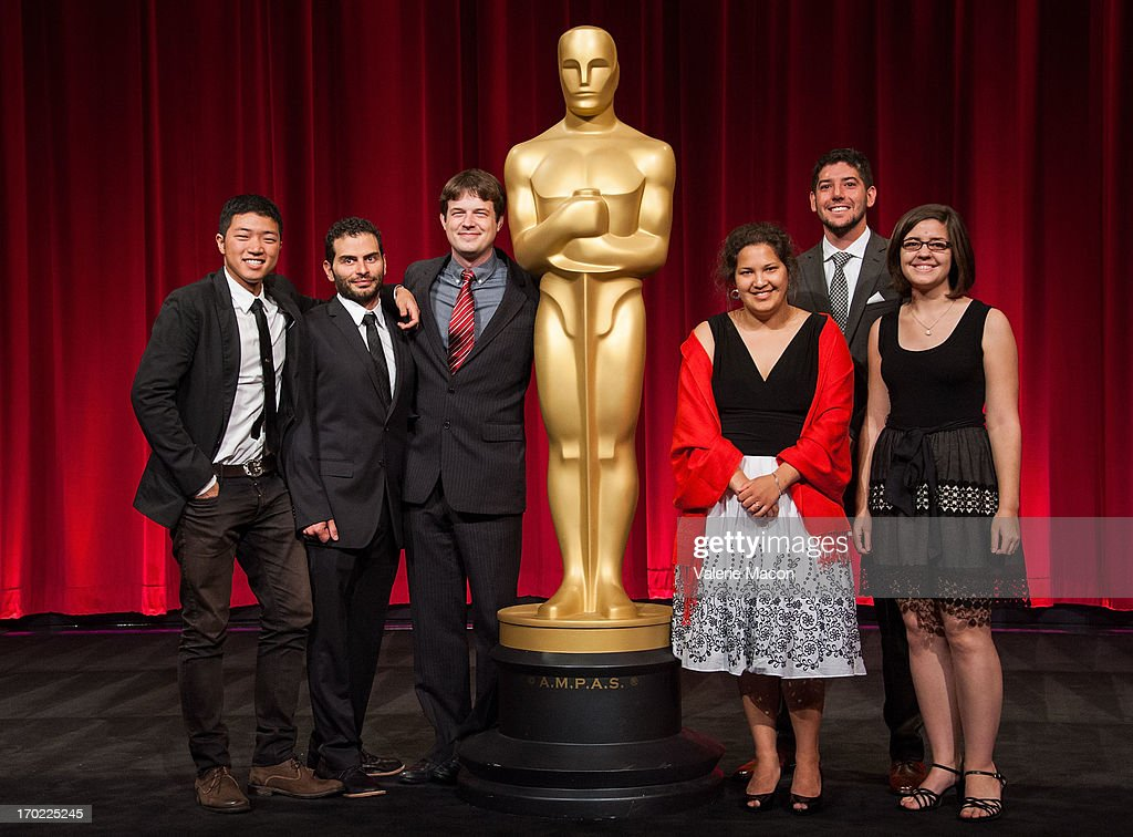 Eusong Lee, David Aristizabal, Jonathan Langager, Kristina Yee, Rafael Cortina and Lindsay St Pierre attend The Academy Of Motion Picture Arts And Sciences' 40th Annual Student Academy Awards Ceremony at AMPAS Samuel Goldwyn Theater on June 8, 2013 in Beverly Hills, California.
