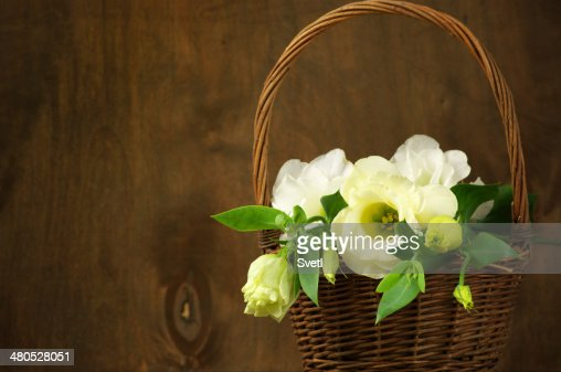 Eustoma flowers in basket : Stock Photo
