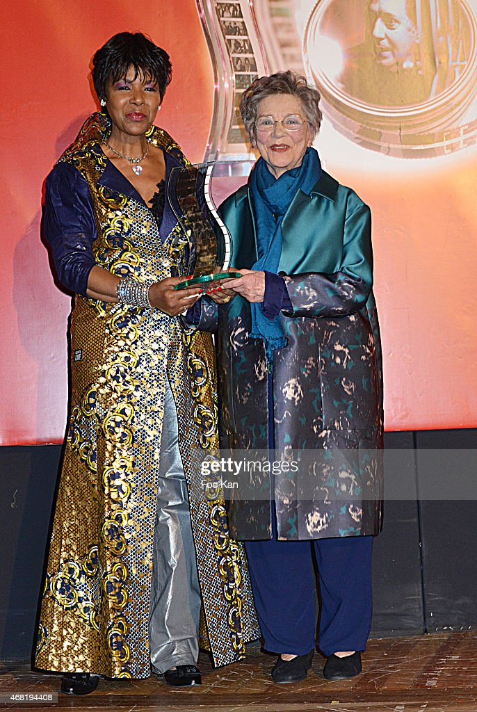 Euzhan Palcy and Henri Langlois 2015 awarded actress Emmanuelle Riva attend the 'Henri Langlois' : 10th Award Ceremony At Unesco In Paris on March 30, 2015 in Paris, France.
