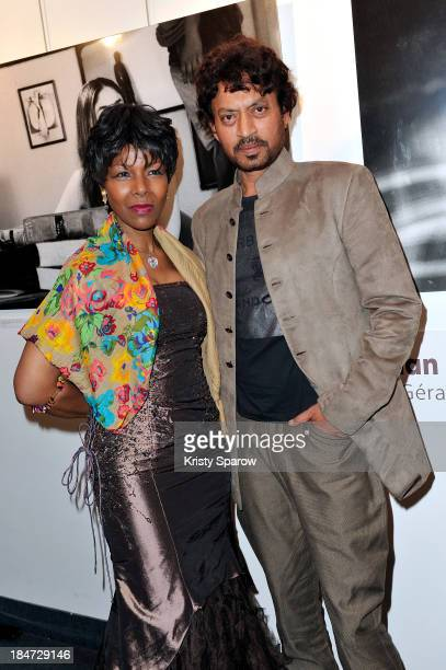 Euzhan Palcy and Irrfan Khan attend the 'Festival Extravagant India' during the 1st Indian Film Festival at Espace Pierre Cardin on October 15 2013...