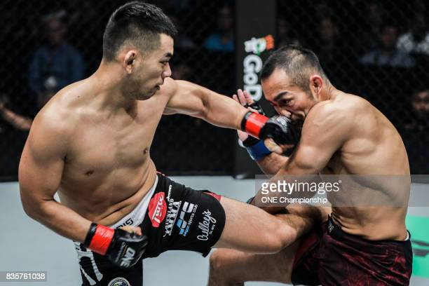 Ev Ting scores a dominant TKO win over Nobutatsu Suzuki during ONE Championship Quest For Greatness at the Stadium Negara on August 18 2017 in Kuala...